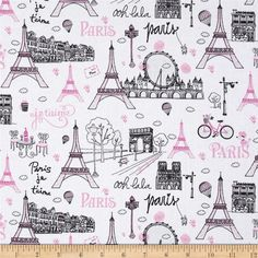 Timeless+Treasures+Fashionista+Metallic+Paris+Scenic+White from @fabricdotcom  Designed+for+Timeless+Treasures,+this+cotton+print+fabric+is+perfect+for+quilting,+apparel,+and+home+decor+accents.+Colors+include+black,+white,+and+shades+of+pink+with+metallic+silver+glitter.