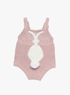 Stella McCartney Kids Bunny Baby Knitted Romper in Pink - PRE-ORDER