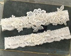 White Lace Garter Set Vintage White Bridal by weddingsandsuch