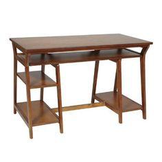 $264.00 OSP Designs TR25OAK Double Pedestal Trestle Desk in Oak