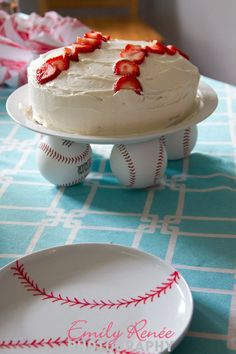 Strawberry baseball birthday cake baseball sharpie plates baseball cake plate baseball party decorations DIY popcorn cones
