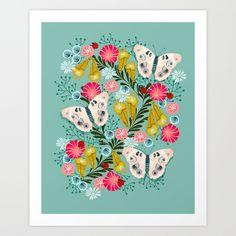 Buckeye Butterly Florals by Andrea Lauren  Art Print by Andrea Lauren Design