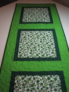 St. Patrick's Day Shamrock Quilted Table Runner