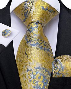 Silk Tie Set Color: Blue and Yellow Length, Width Matching cufflinks and pocket square Tie And Pocket Square, Pocket Squares, Designer Suits For Men, Cufflink Set, Mens Silk Ties, Vintage Cufflinks, Wedding Men, Wedding Bands, Tie Set
