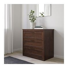 SONGESAND brown, Chest of 3 drawers, cm. The classic design with panelled drawer fronts never goes out of style. You won't disturb anyone's beauty sleep, since the drawers close softly and quietly. Please attach to the wall. White Chest Of Drawers, 3 Drawer Chest, 6 Drawer Dresser, Drawer Unit, Large Drawers, Dresser As Nightstand, Bedroom Dressers, Bedroom Furniture, Wood