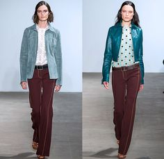 Derek Lam 2015 Spring Summer Womens Runway Catwalk Looks - New York Fashion Week - 1970s Seventies Patchwork Suede Jean Jacket Skirt Frock Sleeveless Outerwear Trench Coat Dress Flare Wide Leg Bell Bottom Pants Trousers Palazzo Pants Pinafore Top Stripes Blousedress Shirtdress Vest Sweater Jumper Lace Sheer Chiffon 3D Embellishments Adornments Fringes Banded Strap Belt Onesie Jumpsuit Coveralls Salopette White Ensemble