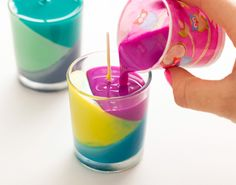 I want to try this... always have broken crayons....Use Crayons to Create Color Block Candles. Add scent!