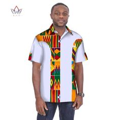 Image of Traditional Mens African Clothing Men Shirts Short Sleeve Dashiki Men African Print Shirt Plus Size Mens Clothing BRW African Shirts For Men, African Dresses Men, African Clothing For Men, African Wear, Nigerian Men Fashion, African Men Fashion, Mens Fashion, Tailor Made Shirts, Men Shirts