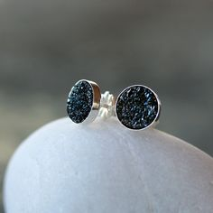 Black Sparkle Earrings Natural Druzy Drusy Gemstone Sterling Silver Studs 8mm Posts Handmade Jewelry