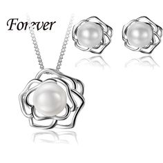 2015 New Fashion Trendy Cross Flower Necklace Earrings Jewelry Sets For Women Girl 925 Sterling Silver White Gold Plated Jewelry-in Jewelry Sets from Jewelry & Accessories on Aliexpress.com | Alibaba Group