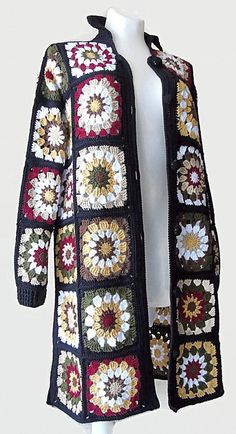 Crochet Patchwork coat and matching scarf, Colorful black Granny Knit Jacket. Crochet Patchwork coat and matching Crochet Jacket Pattern, Crochet Cardigan Pattern, Granny Square Crochet Pattern, Crochet Stitches Patterns, Crochet Poncho, Crochet Granny, Hand Crochet, Granny Square Sweater, Sunburst Granny Square