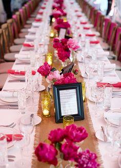 pink wedding centerpiece idea; photo: Matt Blum Photography