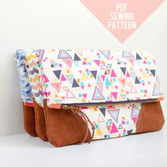 PDF Sewing Pattern  Leather Accent Fold Over Pouch by LBGstudio, $8.00