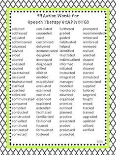 99 Action Words for Speech Therapy SOAP Notes   Pediatric