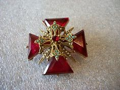 Vintage Signed Art Brooch Pin with Red Rhinestones Flashy | eBay