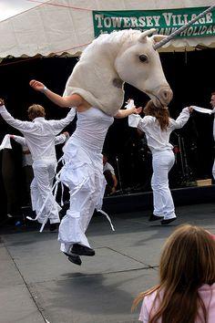 Morris unicorn dancing at the Towersey beer festival