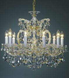 Maria Theresa chandeliers | clear and gold Maria Theresa style crystal chandelier