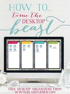 Taming the Desktop Beast: these cute (free!!) desktop backgrounds will help you organize all your desktop files and folders so you can easily find what you need on your computer.