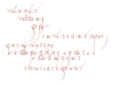 Bill's Calligraphy. Gwen Weaver writing