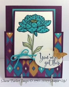 handmade card ... You've Got This Bohemian DSP .... paper pieced flower ... special fold design ... Stampin' Up!