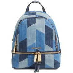 Michael Kors 'Small Rhea Zip' Denim Backpack ($238) ❤ liked on Polyvore featuring bags, backpacks, denim bag, day pack backpack, denim rucksack, denim backpack and zipper bag