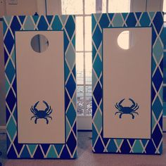 Cornhole boards, so cute!  Could do one red and one blue... make bean bags out of like rain jacket material maybe would help keep moisture out
