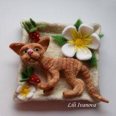 Needle felting. The panel with the Devon Rex kitten. Панно с котенком девон рекс. Сухое валяние. by Lilifelt on Etsy