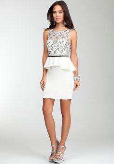 bebe | Contrast Overlay Sleeveless Dress - View All