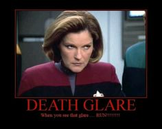 Captain Kathryn Janeway Death Glare - I didn't create this meme.(thx Redheaded Rynegade) I loved the Janeway character, but sadly, the actress who played her has made a terrible personal career decision to narrate an anti-science religious nonsense movie supporting an EARTH CENTERED solar system. Yep, you read that right. Click for more.