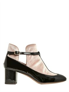VALENTINO - 60MM T-BAR PATENT/VELVET LOW BOOTS - LUISAVIAROMA - LUXURY SHOPPING WORLDWIDE SHIPPING - FLORENCE