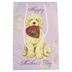 Komondor Heart Mom Medium Gift Bag   pug pillow, pugs funny quotes, pugs and kisses valentines #pugcollections #mypeoplearebetterthenyourpeople #myfriendloveme American Bulldog Puppies, Bulldog Puppies For Sale, Teacup Bulldog, Mop Dog, Pug Pillow, Komondor, Pugs And Kisses, Puppy Care, Beagle Dog