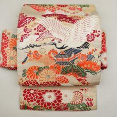 Beige, silk antique nagoya obi / アンティークの帯を用いてお仕立てされた名古屋帯 http://www.rakuten.co.jp/aiyama #Kimono #Japan #aiyamamotoya