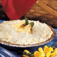 Pineapple Fluff Pie. Made this for luncheon today - it was a hit! (And super easy to make.)