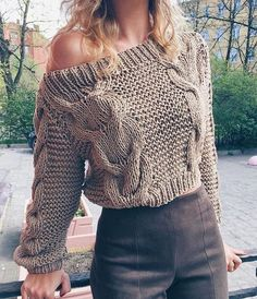 Oblique Neckline Solid Loose Short X-line Sweaters Mode Outfits, Stylish Outfits, Winter Fashion Outfits, Fall Outfits, Crochet Fashion, Sweater Outfits, Crochet Clothes, Knitwear, Knit Crochet