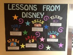 """Lessons from disney"" bulletin board. shows what one can learn from characters in disney movies.but instead make it career lessons bc duh career center. Mickey Mouse Classroom, Disney Classroom, Preschool Classroom, Future Classroom, Kindergarten, Preschool Ideas, Teaching Ideas, Craft Ideas, Disney Bulletin Boards"