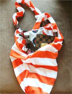 Transform a regular t shirt or tank top into a trendy bag! So easy and cute!