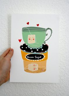 Kitchen Print  Tea Bags by MYMUSECOMESANDGOES on Etsy, €7.50