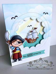 15 June 2017 | A Crafty Divaz Creations: My Favorite Things Pirate Love | I colored the pirate and boat with my copics. I used the MFT's cloud stencil to create the background and the sun ray stencil to add the rays. I die cut the waves using Taylored Expressions rolling waves die and cut out the card panel using Mama Elephant columbus circle framed tags. I stamped out the birds and sentiment from the same stamp set.