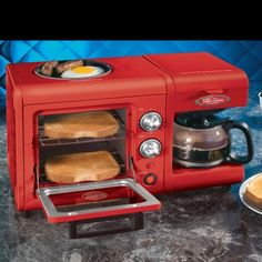 cute kitchen breakfast station, toaster, egg cooker, coffee maker all-in-one  (gadgets, ideas, inventions, cool, fun, amazing, new, interesting, product, design, clever, practical, useful, tech, technology, electronic, gizmo, brilliant, genius)