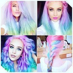 Move over, rainbow hair. Opal Hair Is The Pastel Version Of Rainbow Hair And It's Positively Magical Cabello Opal, Pelo Multicolor, Color Fantasia, Opal Hair, Coloured Hair, Mermaid Hair, Mermaid Makeup, Dream Hair, Crazy Hair