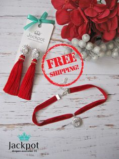 Luxury jewelry set with phianites Red Velvet Choker Necklace and Red Silk Tassel Earrings Birthday Holiday party Christmas gift for her