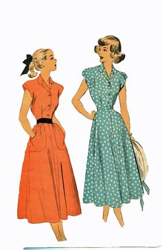 Advance 4873 1940s Dress Sewing Pattern Cap Sleeves Panel Skirt Button Bodice Bust 30 Size 12. $10.00, via Etsy.