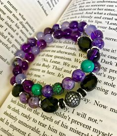 Your place to buy and sell all things handmade Savage Garden, Herkimer Diamond, Gemstone Bracelets, Healing Stones, Purple And Black, Birthstones, Boho Chic, Gothic, Amethyst