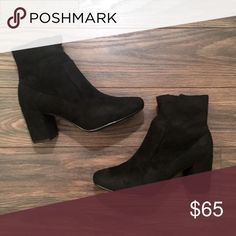 Black Suede Low Ankle Booties Absolutely love these little black Booties. They are so cute and casual. Pair well with everything. Fits true to size so chose your normal size. Shoes Ankle Boots & Booties