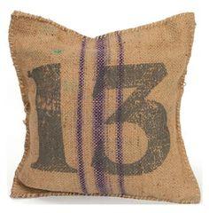 Vintage Burlap Sack Printed Toss Pillow- Number 13