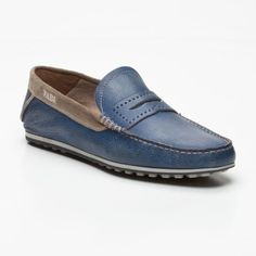 Grained Leather Loafers in Blue   Beige 994c4a2032562