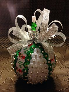 Handmade sequin ornament on Etsy, $9.00