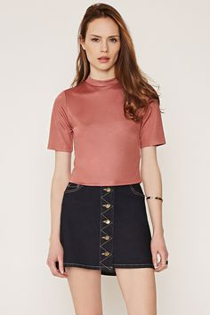Contemporary Boxy Mock Neck Top | Forever 21 - 2000145883
