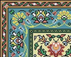 French Vintage Floral Rug Adaptation circa by MyTreasureIsland Mini Cross Stitch, Cross Stitch Borders, Cross Stitch Charts, Cross Stitch Designs, Cross Stitch Patterns, Vintage Floral, French Vintage, Vintage Cross Stitches, Cross Stitch Pictures