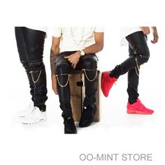Aliexpress.com : Buy Alta Quantidade PU Faux Leather Men Skinny Justin Bieber Slim Fit Hip Hop Hiphop Pants Zipper Cadeia Ganhos Jogger Jogging Kanye West from Reliable máquina de gravura do laser de couro suppliers on OO-MINT STORE